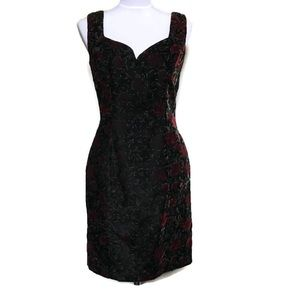 ANNA SUI black Velvet red floral sheath dress 6